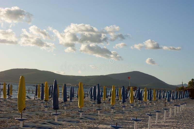 Sunshades at the beach royalty free stock photography