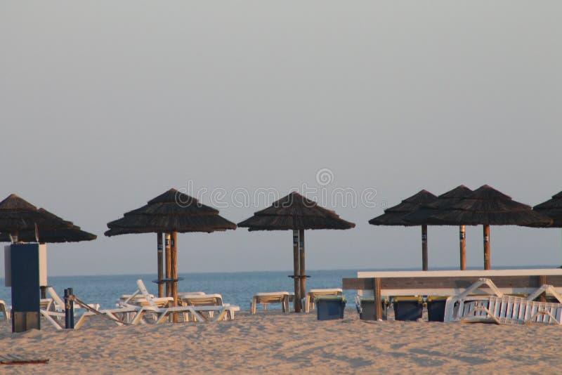 Sunshades, Island Tavira Portugal stock images