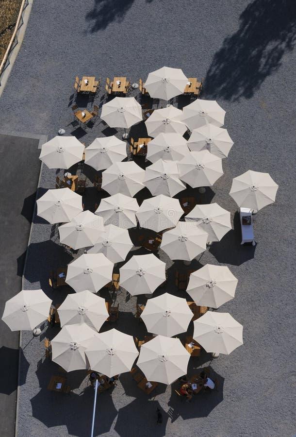 Sunshades on the patio stock photos