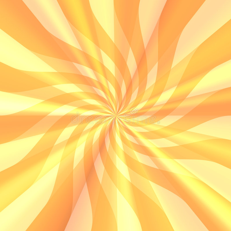 Sunshine Abstract Background. Bright and vivid orange and yellow wavy sunshiny rays of ribbon in this swirling abstract background royalty free illustration