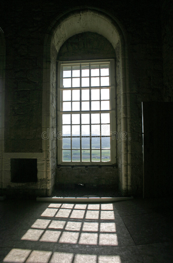 Sunshine Through Arched Windows in Stirling Castle Scotland stock images