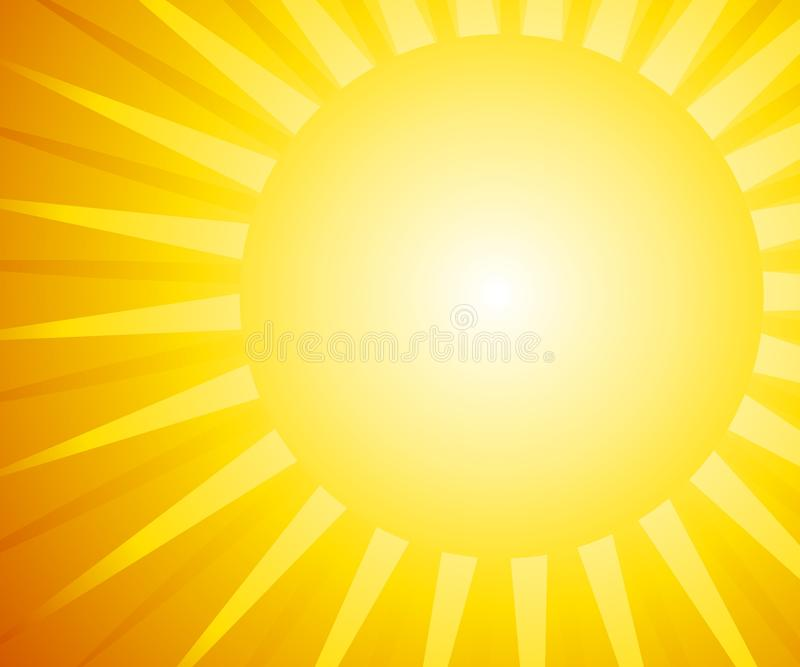 Sunshine Background. A background illustration featuring a bright sun shining with rays stock illustration