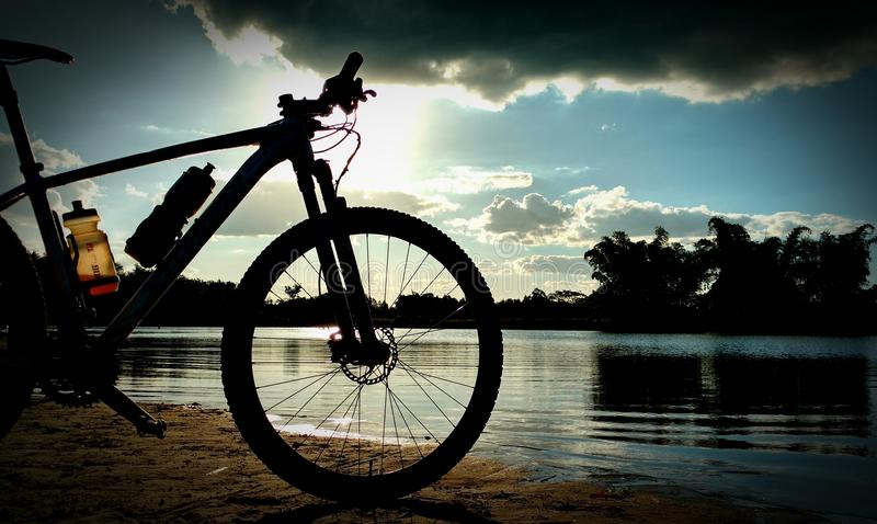 Sunshine and bike stock image