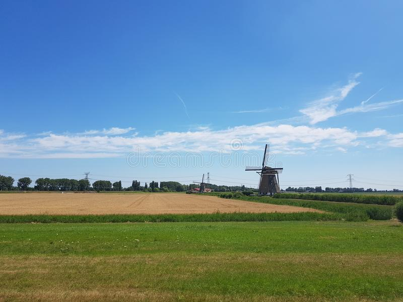 Sunshine over countryside road and windmill, Holland stock image