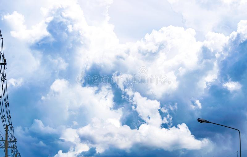 Sunshine the blue sky with cloud blurry background. Using wallpaper or background for nature, natural, and refreshing. stock photos