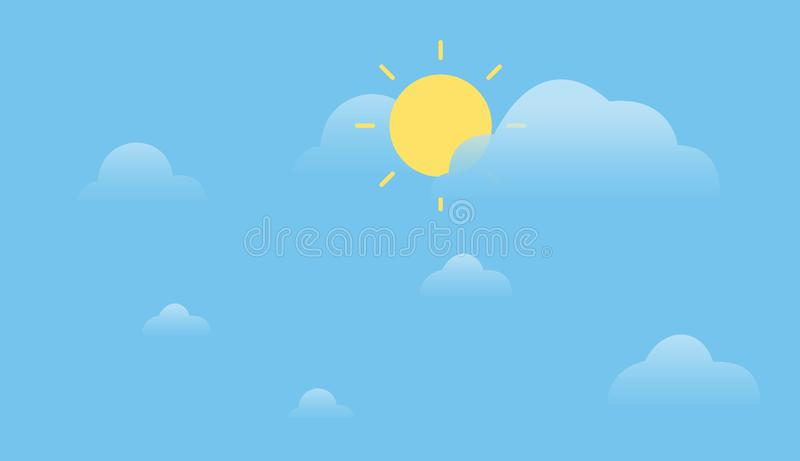 Sunshine with clouds and sky background.Simple summer sky design. Daytime concept vector illustration