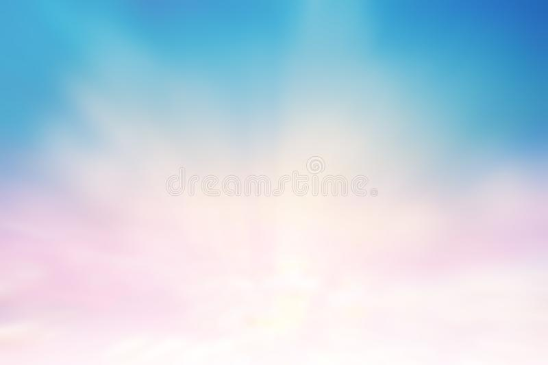 Sunshine clouds sky during morning background. Blue,white pastel heaven,soft focus lens flare sunlight. Abstract blurred cyan royalty free stock image