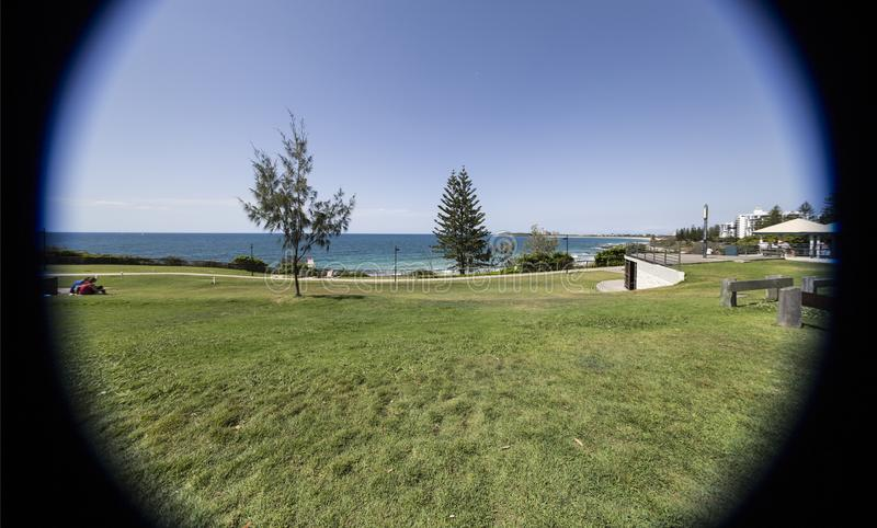 Sunshine Coast – Coastal Park in Mooloolaba. Coast line seen through a 10mm lens, in Mooloolaba, Sunshine Coast, Australia royalty free stock photography