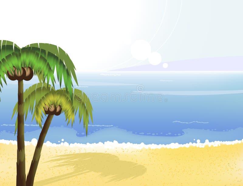 Sunshine coast and coconut palms stock illustration