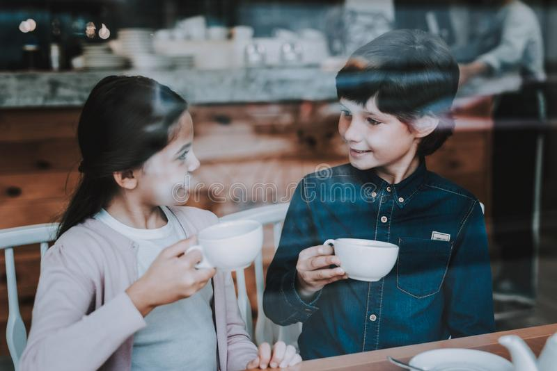 Sunshine Day. Happy Kids. Cute Relationship. Cafe. royalty free stock photos