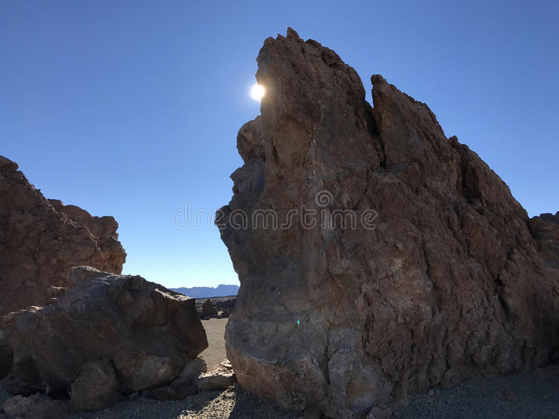 Sunshine at a landscape around Mount Teide. A volcano on Tenerife in the Canary Islands stock image