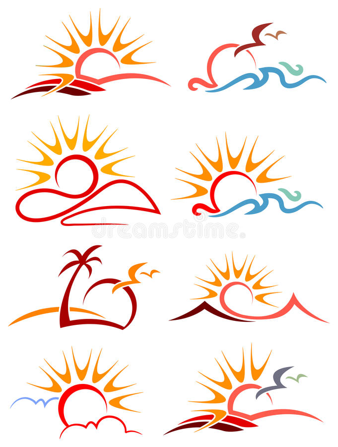Sunshine logo set. Isolated line art sunshine logo set stock illustration
