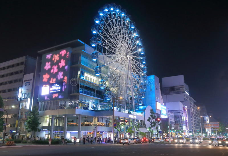 Cityscape night Nagoya Japan. Sunshine Sakae Shopping Centre and Ferris wheel by night in Sakae Nagoya Japan royalty free stock photography