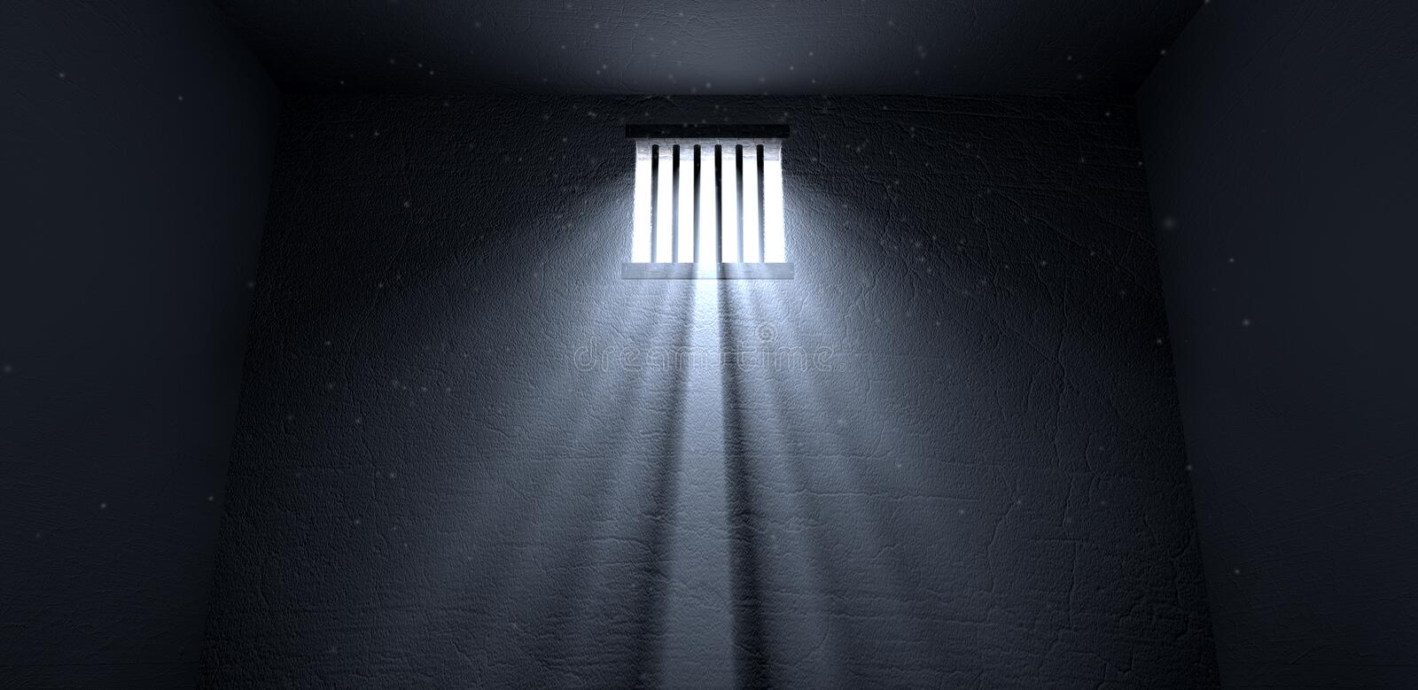 Sunshine Shining In Prison Cell Window Stock Illustration