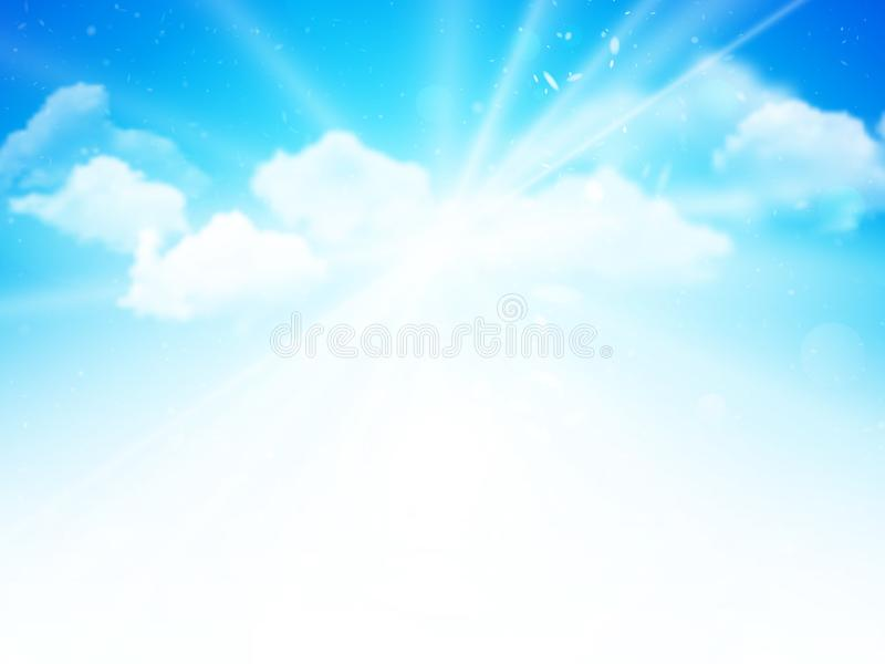Sunshine sky, abstract blue clouds background. Modern style vector illustration