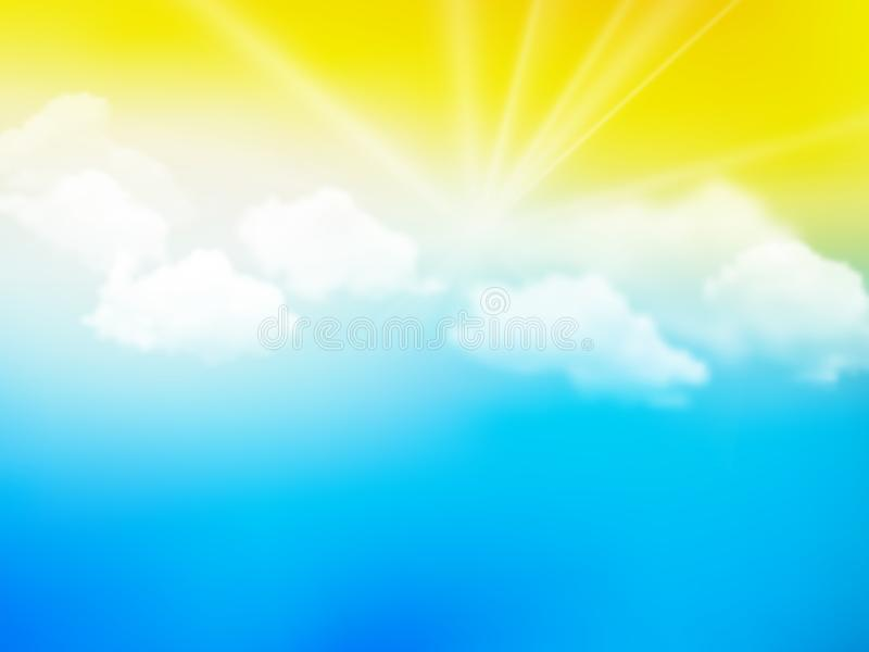 Sunshine sky, abstract yellow blue clouds background. Modern style royalty free illustration