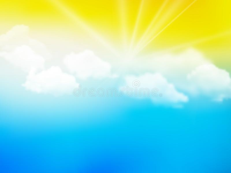 Sunshine sky, abstract yellow blue clouds background vector illustration