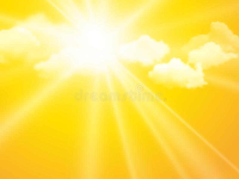 Sunshine sky, abstract yellow clouds background royalty free illustration