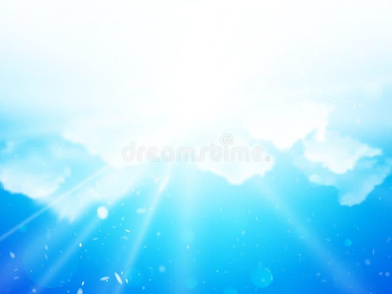 Sunshine sky clouds background stock illustration