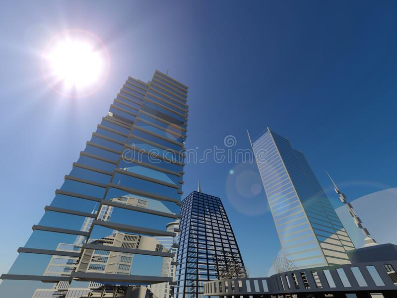 Sunshine skyline city background stock photo