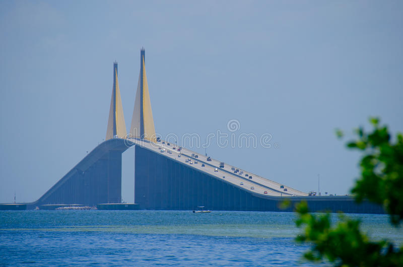 Sunshine Skyway Bridge over Tampa Bay Florida royalty free stock photos