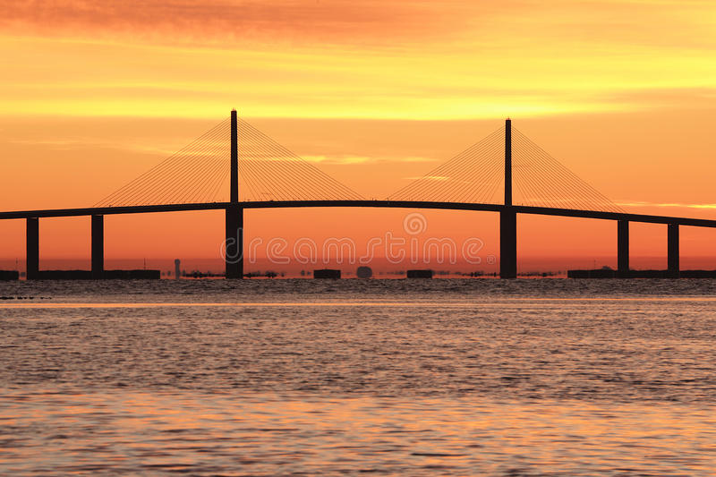 Sunshine Skyway bridge at sunrise royalty free stock photography