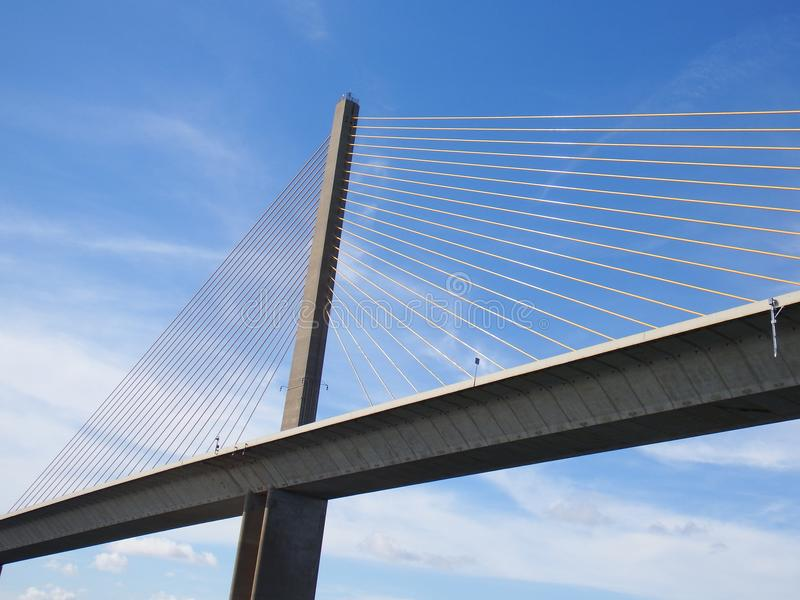 Sunshine Skyway Bridge, Tampa Bay, Florida, Cables on blue sky stock images