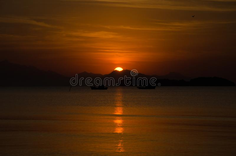 The Sunshine. The sun was so big behind the moutains royalty free stock images