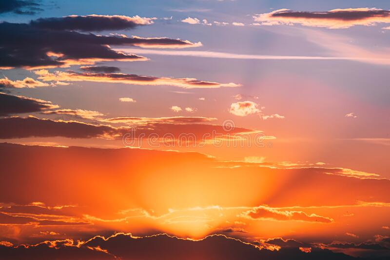 Sunshine In Sunrise Bright Dramatic Sky. Scenic Colorful Sky At Dawn. Sunset Sky Natural Abstract Background.  royalty free stock images