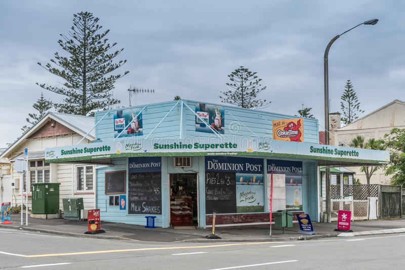 Sunshine Superette corner store in Napier, New Zealand. royalty free stock images