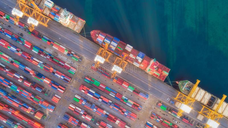 Sunshine to container ship and warehouse from sea port for delivery containers shipment. Suitable use for transport or import. Export to global logistics royalty free stock photography