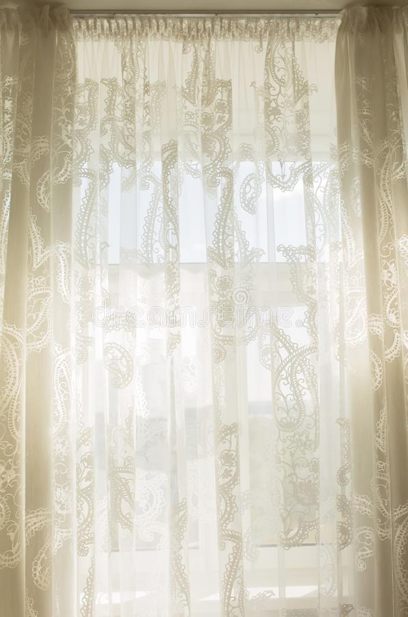 Download Sunshine Through The Transparent Tulle Curtains In Room Stock Photo