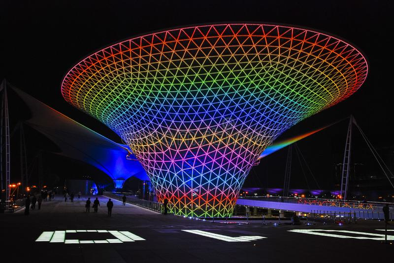 Sunshine Valley Light Show. Sunshine Valley is located in the Shanghai World Expo source in China. It is shaped like a crystal clear glass trumpet flower that