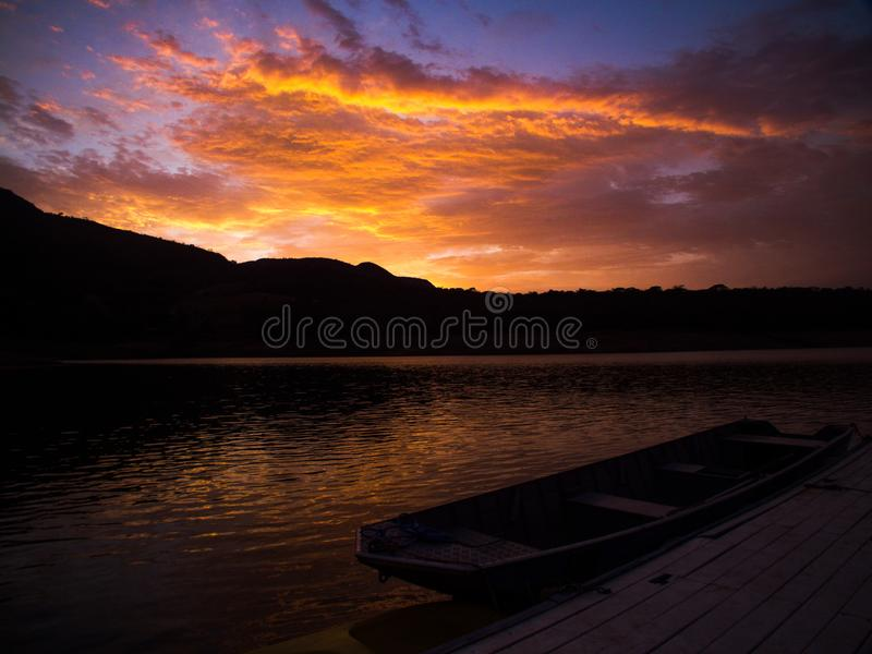 The sunsrise of Minas Gerais. This sunrise is a wonderful scene from brazil. The photo portrayed in the city of Minas Gerais, Capitólio demonstrates the royalty free stock images