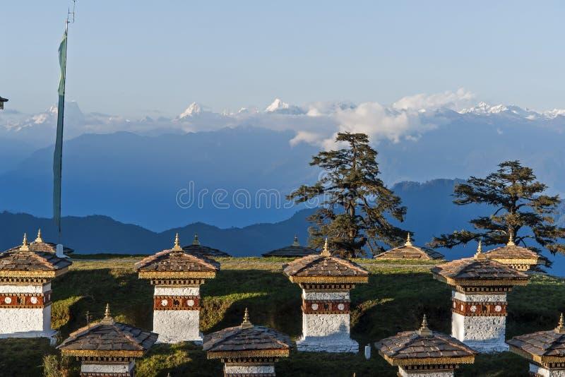 Sunste op Dochula-Pas - Bhutan royalty-vrije stock afbeelding