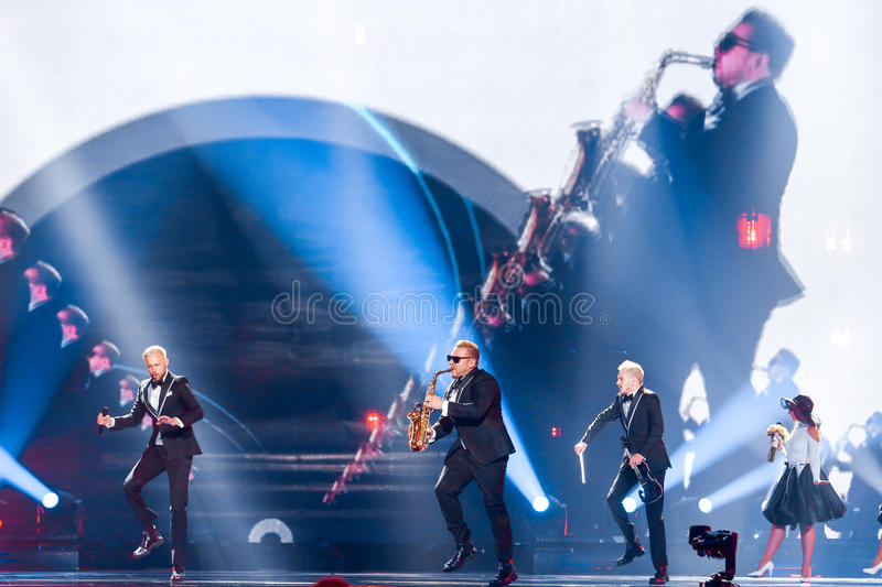 SunStroke Project from Moldova Eurovision 2017. KYIV, UKRAINE - MAY 12, 2017: SunStroke Project from Moldova at the Grand Final rehearsal during Eurovision Song royalty free stock image