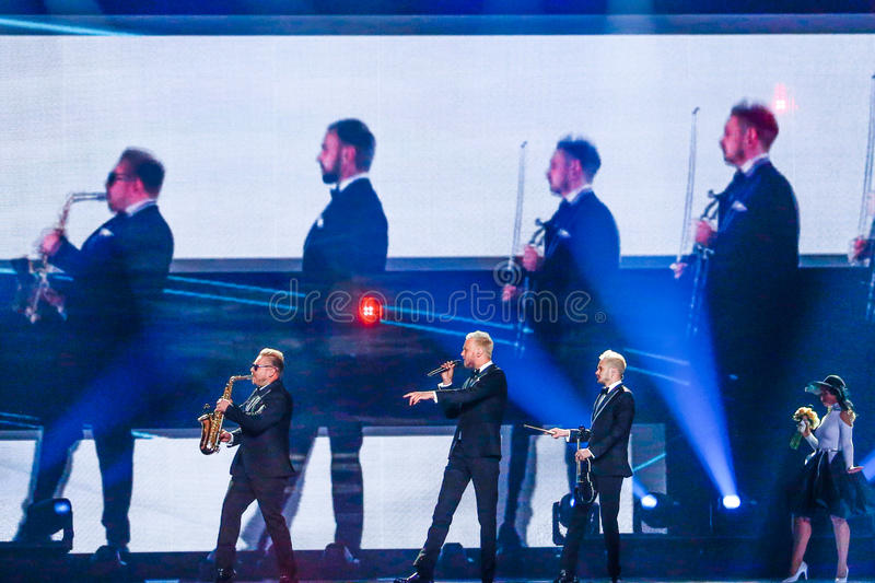 SunStroke Project from Moldova Eurovision 2017. KYIV, UKRAINE - MAY 12, 2017: SunStroke Project from Moldova at the Grand Final rehearsal during Eurovision Song royalty free stock photo