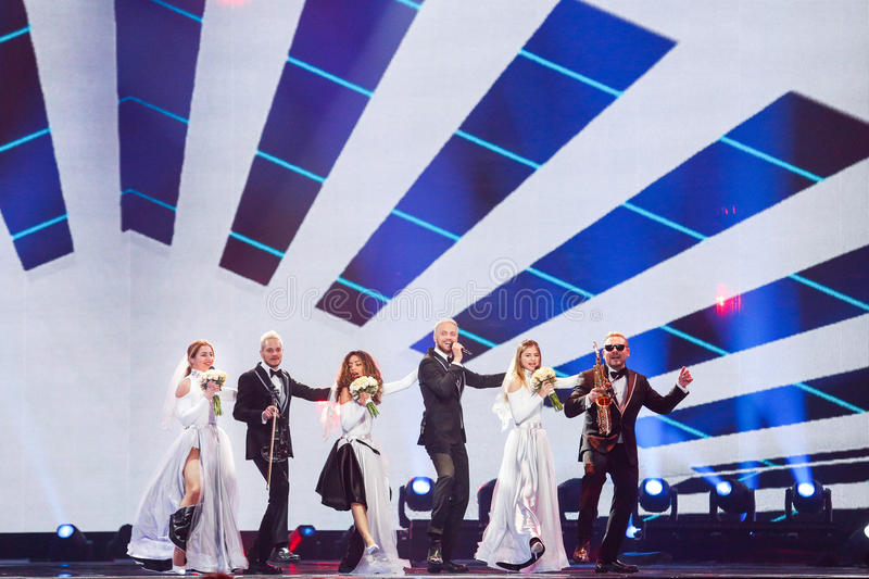 SunStroke Project from Moldova Eurovision 2017. KYIV, UKRAINE - MAY 12, 2017: SunStroke Project from Moldova at the Grand Final rehearsal during Eurovision Song royalty free stock photos