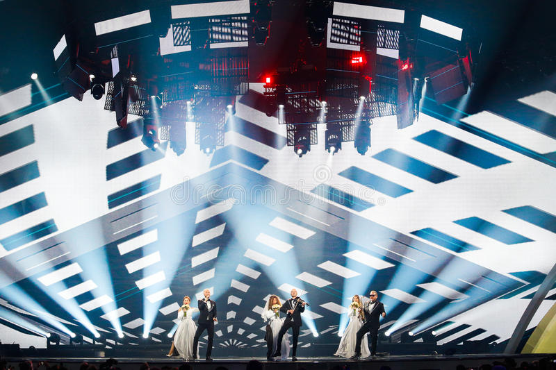 SunStroke Project from Moldova Eurovision 2017. KYIV, UKRAINE - MAY 12, 2017: SunStroke Project from Moldova at the Grand Final rehearsal during Eurovision Song stock photo