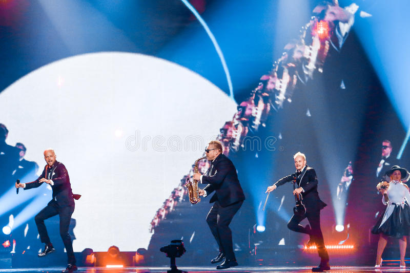 SunStroke Project from Moldova Eurovision 2017. KYIV, UKRAINE - MAY 12, 2017: SunStroke Project from Moldova at the Grand Final rehearsal during Eurovision Song stock image
