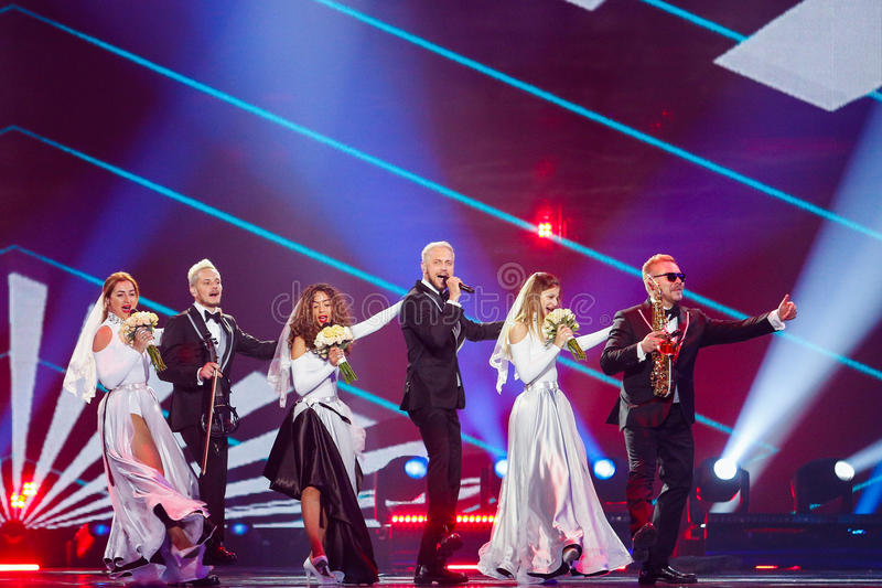 SunStroke Project from Moldova Eurovision 2017. KYIV, UKRAINE - MAY 12, 2017: SunStroke Project from Moldova at the Grand Final rehearsal during Eurovision Song stock photography
