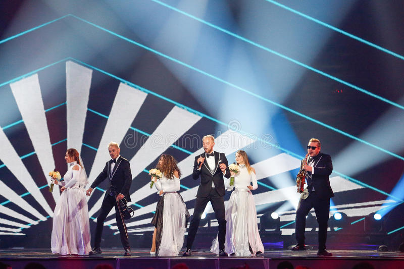 SunStroke Project from Moldova Eurovision 2017. KYIV, UKRAINE - MAY 12, 2017: SunStroke Project from Moldova at the Grand Final rehearsal during Eurovision Song stock images