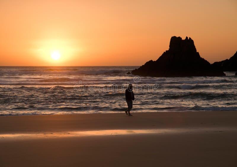 Sunsuet in the beach stock photos