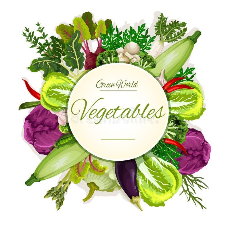 Sunt baner för strikt vegetariangrönsakmat royaltyfri illustrationer