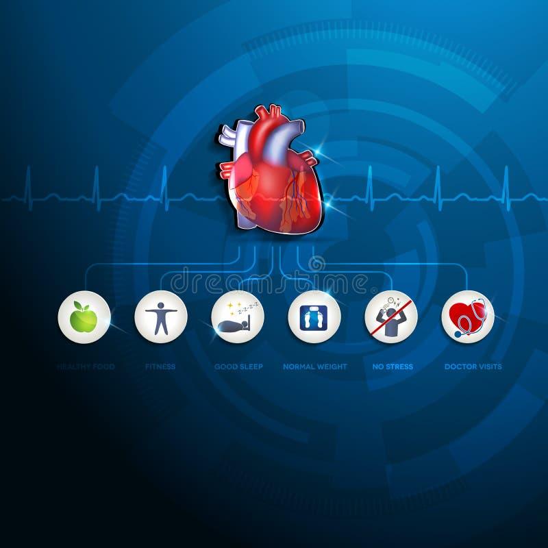 Sunt informationsdiagram om hjärta stock illustrationer