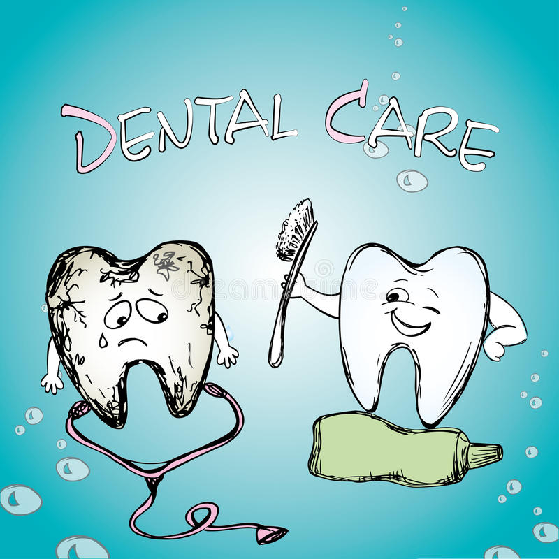 Sunt le för tand Sjuk tand stock illustrationer