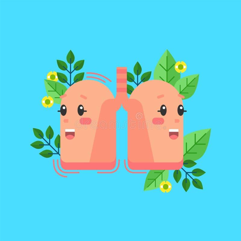 Sunt lungatecken, begreppsmässig vektorillustration Mänsklig hälsa och respiratoriskt system royaltyfri illustrationer