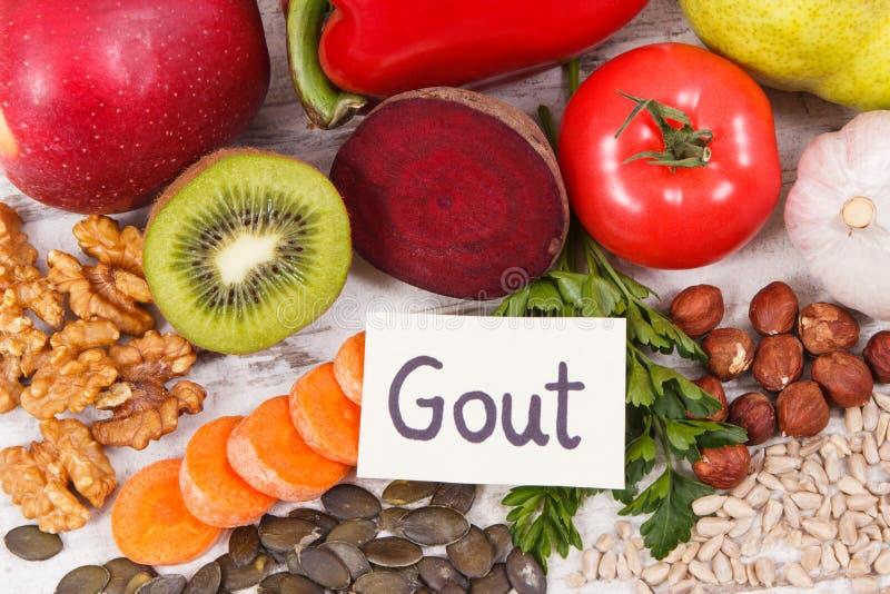 Sunt näringsrikt vitaminer och mineraler för äta innehållande Bästa mat för gikt och njurehälsa arkivfoto