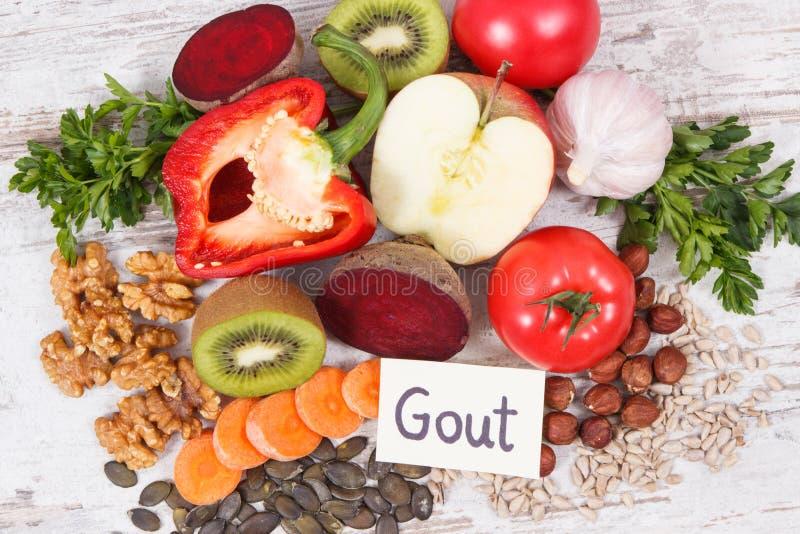 Sunt näringsrikt vitaminer och mineraler för äta innehållande Bästa mat för gikt och njurehälsa arkivbilder