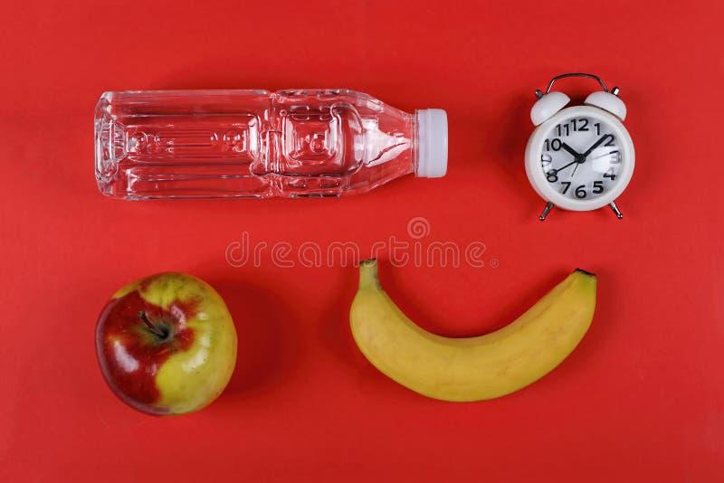 Sunt skolamat, ciabatta, n?ring, rent vatten, en sm?rg?s, ett ?pple royaltyfria bilder